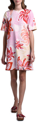 Marni Short-Sleeve Brushstroke Floral Dress