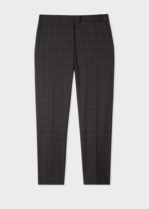 Paul Smith Women's Slim-Fit Black Wool Windowpane Check Trousers