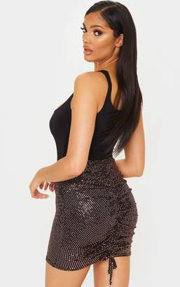 PrettyLittleThing Black Sequin Ruched Bum Mini Skirt