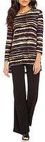 Multiples Multiple Scoop Neck 3/4 Sleeve Hi-Low Hem Striped Tunic