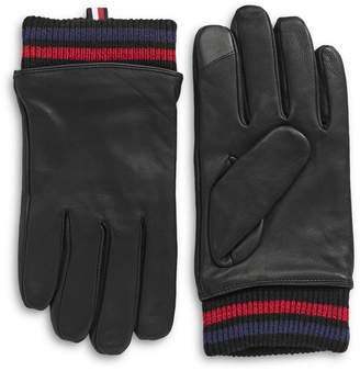 Tommy Hilfiger Striped Leather Gloves