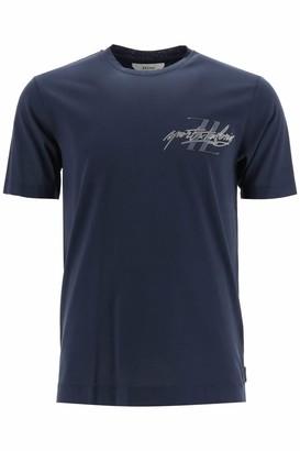 Ermenegildo Zegna BASIC T-SHIRT WITH LOGO L Blue Cotton