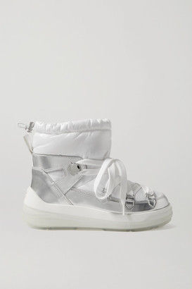 Moncler Florine Metallic Leather And Padded Shell Ankle Boots - White