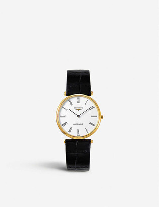 Longines L49082112 La Grande Classique Presence yellow-gold plated silver and leather watch