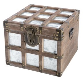 Vintiquewise Vintorary Wooden Square Galvanized Metal Lined Storage Trunk, Small
