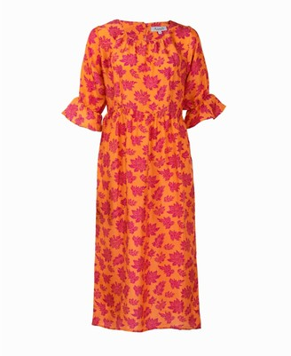 Asneh Natalie Midi Silk Dress In Orange With Pink Purple Print
