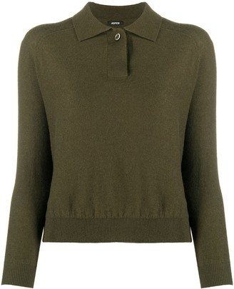 Aspesi Long-Sleeve Knitted Polo Shirt