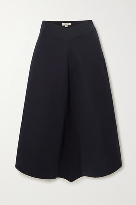 Atlantique Ascoli Asymmetric Cotton And Linen-blend Twill Midi Skirt - Navy