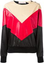 Marni chevron pattern sweatshirt - women - Lamb Skin/Polyester/Spandex/Elastane/Silk - 38
