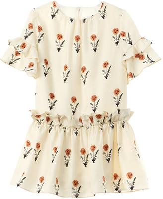 Oscar de la Renta Pressed Flower Silk Dress