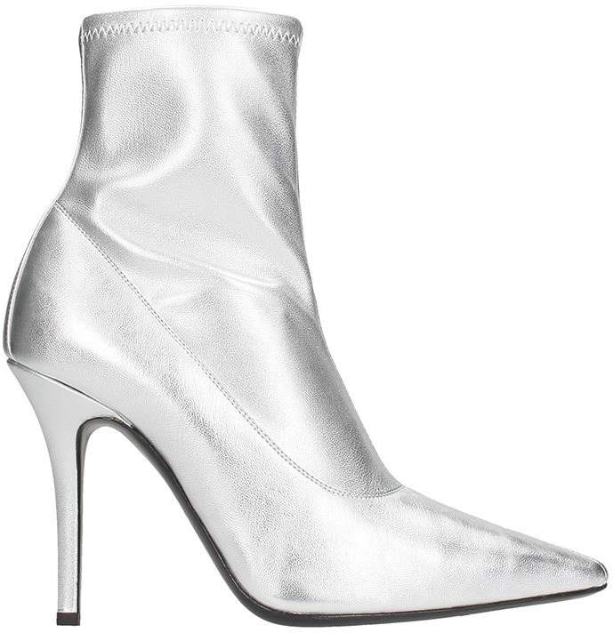 Giuseppe Zanotti Silver Metal Leather Ankle Boots