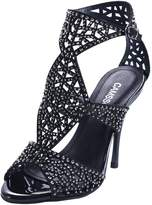 CAMSSOO Women's Sparkle Crystal Cutouts Stiletto Ankle Strap High Heels Party Dress Sandals Size 8.5 EU40