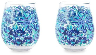 Lilly Pulitzer Floral 2-Piece Wine Glass Set