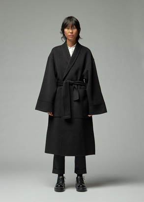 Totokaelo Archive Women's Diara Robe Coat in Black Size Large Wool/Polyester
