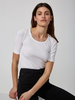Frank and Oak Cotton-Modal Elbow-Sleeve Knit Top in Bright White