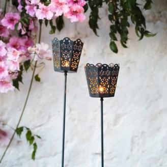 The White Company Filigree Torch Lanterns Set of 2, Black, One Size