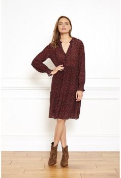 MKT Studio Cherry Cupro Regeanne Ethnic Print Dress - cherry   Cupro   36 (UK 8) - Cherry