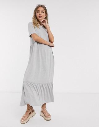 ASOS DESIGN tiered smock t-shirt midi dress in gray marl