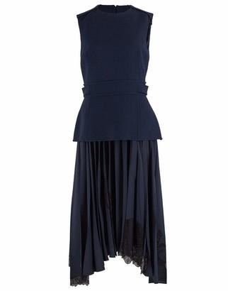 Oscar de la Renta Navy Fitted Top and Silk Lace Insert Skirt Dress