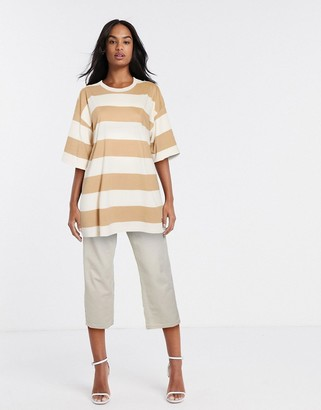 ASOS DESIGN oversized t-shirt in tonal washed stripe