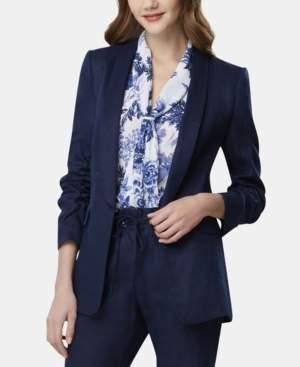 Tahari ASL Petite Linen Ruched-Sleeve Jacket