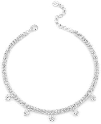Shay 18kt White Gold Mini Diamond Pave Link Heart Drop Necklace