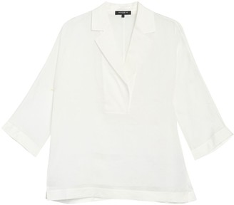 Lafayette 148 New York Jane Notch Collar 3/4 Sleeve Blouse