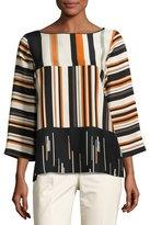 Lafayette 148 New York Aubrianna 3/4-Sleeve Avant-Garde Striped Silk Blouse, Multi Pattern