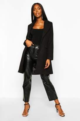 boohoo Tailored Self Fabric Button Wool Look Coat