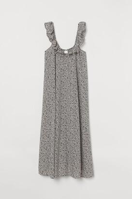 H&M Ruffle-trimmed Dress - Gray
