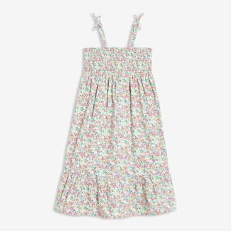 Joe Fresh Kid Girls' Print Smocked Dress, Aqua (Size M)