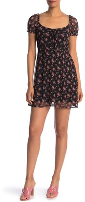 Velvet Torch Puff Sleeve Smocked Mini Dress