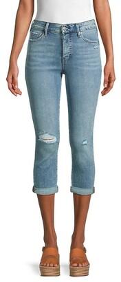 High-Rise Destroy Capri Jeans