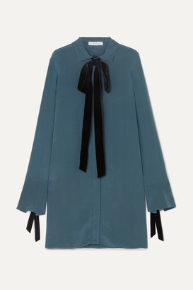 Olivia von Halle Heroine Velvet-trimmed Washed-silk Mini Dress - Blue