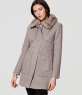 LOFT Faux Fur Trim Coat