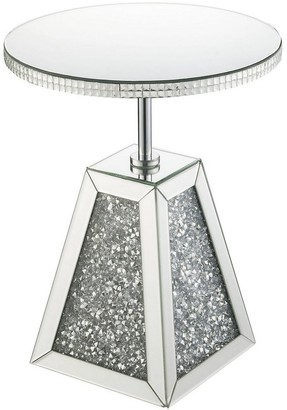 Overstock Round Mirrored Accent Table with Pedestal Base and Glass Top, Silver