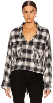 R 13 Western Fringe Shirt in Grey Plaid | FWRD
