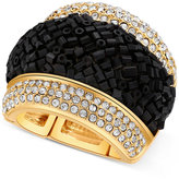 GUESS Gold-Tone Pave & Black Bead Stretch Ring