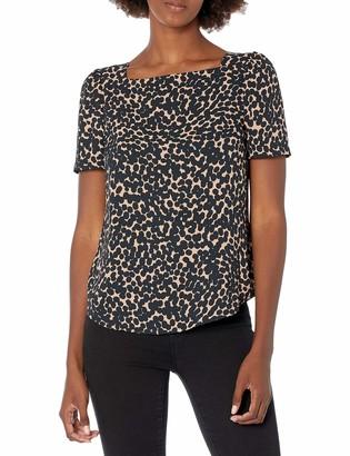 Lark & Ro Amazon Brand Women's Crepe de Chine Half Sleeve Bateau Square Neck Top