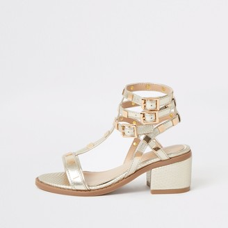 River Island Girls Gold studded gladiator heeled sandals