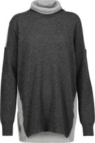 Magaschoni Zip-Embellished Two-Tone Cashmere Turtleneck Sweater