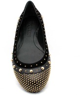 """Alexander McQueen 329395"""" Black Leather and Suede Studded Ballet Flat"""