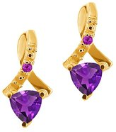 Gem Stone King 0.44 Ct Trillion Natural and Simulated Amethyst 14k Yellow Gold Earrings