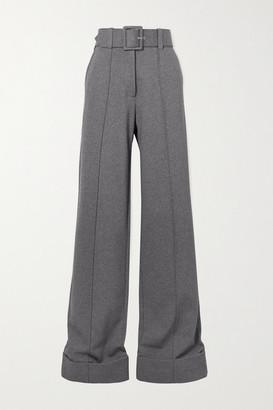 Victoria Victoria Beckham Belted Jersey Wide-leg Pants - Gray