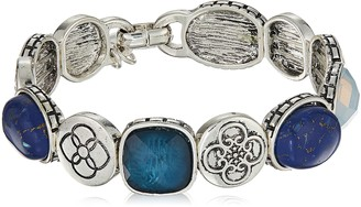 Chaps Women's Blue Multi Set Cab and Charm Stretch Bracelet