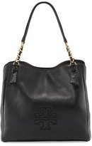 Tory Burch Harper Center-Zip Leather Tote Bag, Black