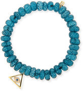Sydney Evan Jewelry 8mm Faceted London Blue Quartz Beaded Bracelet with 14k Gold Pyramid Evil Eye Charm