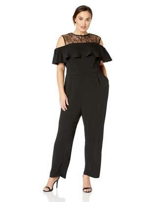 City Chic Women's Apparel Women's Plus Size Cold Shoulder LACE Jumpsuit