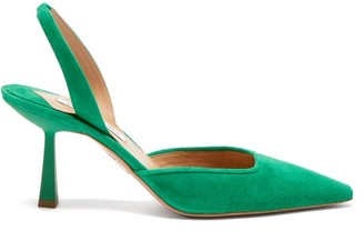 Aquazzura Maia 75 Suede Slingback Pumps - Green