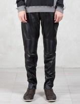 VALLIS BY FACTOTUM Knee Patch Slim Leather Pants